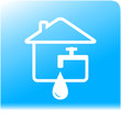 tap spigot with drop and house on light blue water background