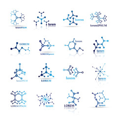 Molecule Icons Set - Isolated On White Background