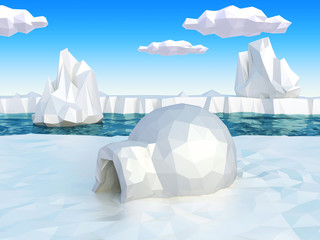 Lowpoly arctic landscape with igloo