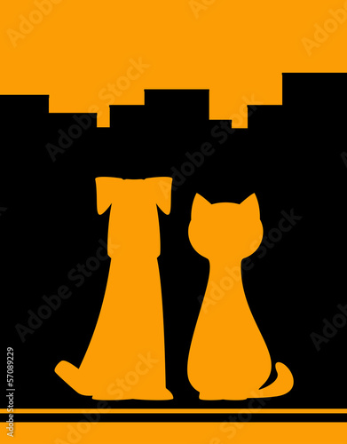 yellow urban background with dog and cat silhouette