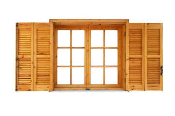 Wooden window with shutters opened isolated exterior side