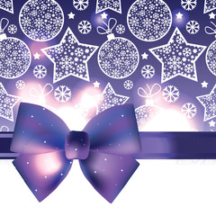 vector Christmas background with purple bow