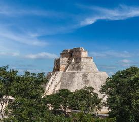Mayan pyramid (Pyramid of the Magician, Adivino) in Uxmal, Mexic