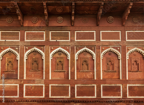 Wall decoration in Agra fort. Agra, Uttar Pradesh, India