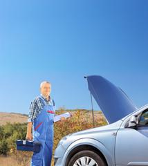 Mechanic standing near a broken car with open hood, on a road