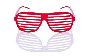 Red striped sunglasses isolated on white