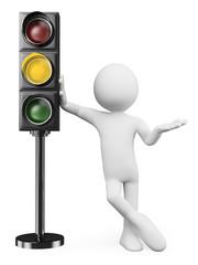 3D white people. Amber traffic light