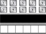 Film strips and countdown illustrated on white