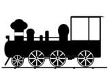 Locomotive illustrated in white