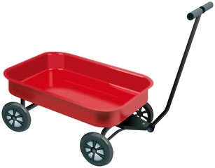 Small red four wheels handcart with handgrip