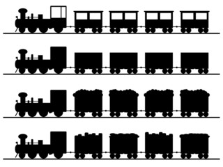 Old trains illustrated on white