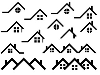 House roof set illustrated on white