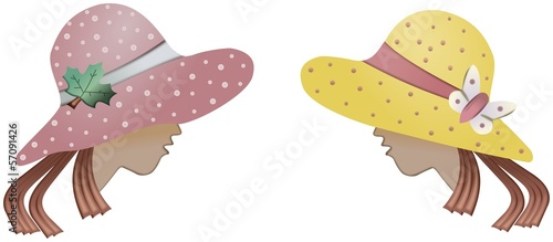 Two cartoon womens with colored hats with bow