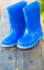 blue child's wellington boots