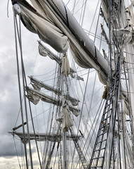 Dockside of old sailing ship