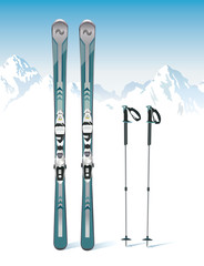 Ski and sticks on the mountains background - vector