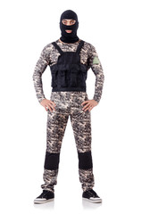 Soldier in camouflage isolated on white