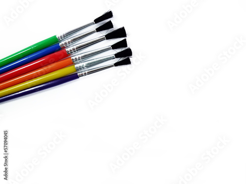 Colourful Brushes on White Background