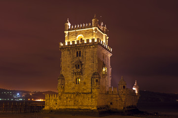 Tower from Belem at night in Lisbon Portuga