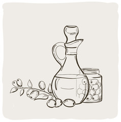 Sketch of branch with olives and a bottle of olive oil.