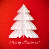 White origami Christmas tree vector greeting card