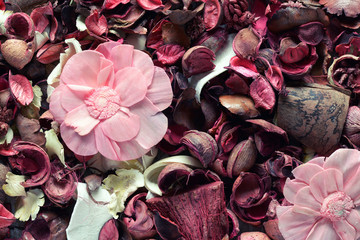 Dried pink potpourri background