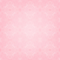Cute pink seamless pattern with fancy lace flowers