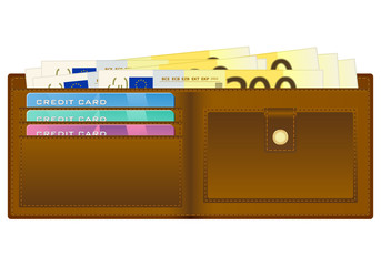 wallet with two hundred euro banknote