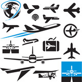 Airplane icons. Airport symbols. Plane.
