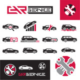 Car service icons set.