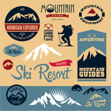 Mountain icons set. Mountain climbing. Climber.