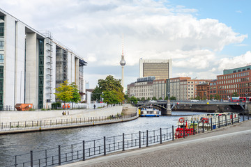 Berlin, Germany - German Chancellery, Tv tower and river Spree