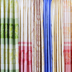 Displayed curtains samples in the shop