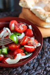salad  with tomatoes and paprika,onion