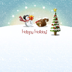クリスマスツリー スノーマン リス Snowman and Squirrel getting Christmas present