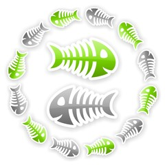 green and gray glossy fish bone background