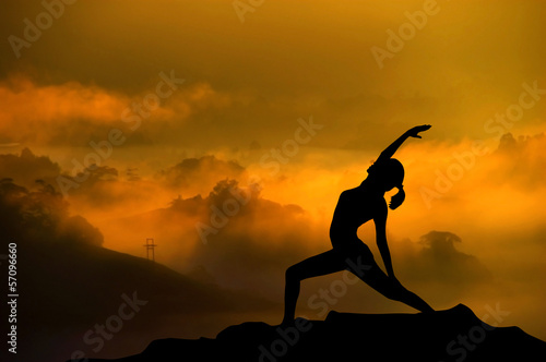 Silhouette yoga woman