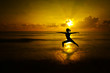 Outdoor beach yoga silhouette