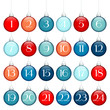 Advent Calendar Christmas Balls Lines Blue/Red/Silver