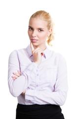 attraktive junge skeptische Geschäftsfrau