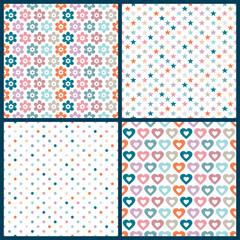 4 Seamless Birthday Pattern Retro Mix