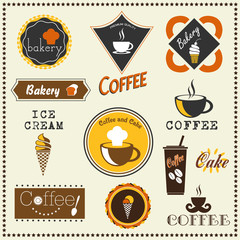 Bakery and Coffee labels.