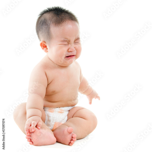 Crying Asian baby boy