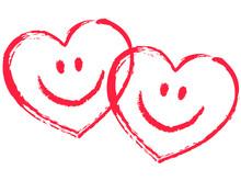 2 czerwone, blokady Smiley serca, wektor