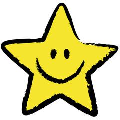 Gelber Stern-Smiley mit schwarzer, locker gezeichneter Kontur