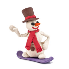 plasticine snowman riding snowboarders