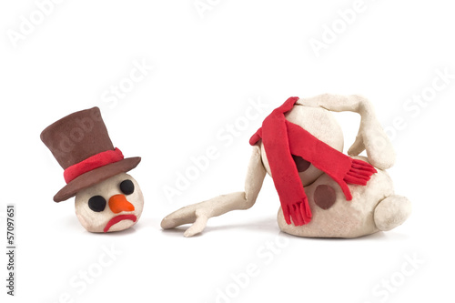 melted snowman isolated on a white background
