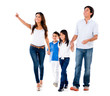 Family walking an pointing away