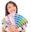 Thoughtful woman with a color guide