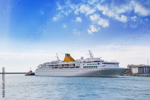 The cruise ship in the harbor